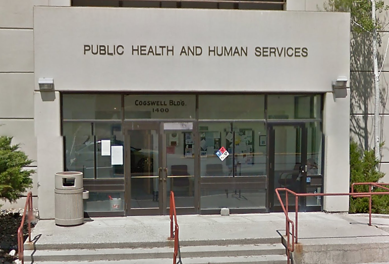 Front entrance to the Montana Department of Public Health and Human Services building in Helena.